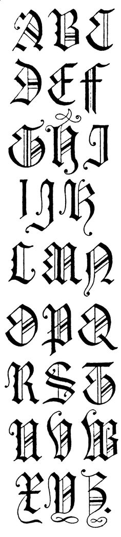Gothic Lettering :: English Gothic Letters - 15th Centuryhttp://karenswhimsy.com/public-domain-images/gothic-lettering/gothic-lettering-4.shtm