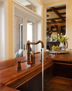 Distressed Black Walnut Counter with French Baroque Edge