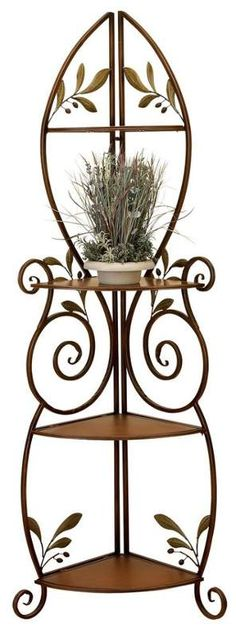 Tuscan French Country Corner Bakers Rack Home Decor