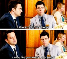 """New Girl - Schmidt and Nick""""good jewish or bad jewish"""" New Girl Series, New Girl Tv Show, Tv Series, Best Tv Shows, Best Shows Ever, Movies Showing, Movies And Tv Shows, New Girl Schmidt, Jessica Day"""
