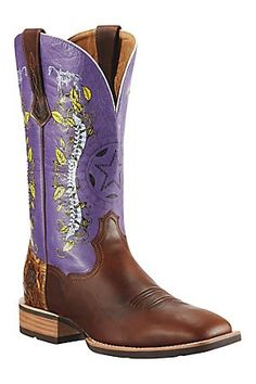 Ariat Showdown Men's Mission Brown w/Purple Top Double Welt Square Toe Western Boot