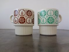 Who remembers drinking hot chocolate from these at Grandma's house?    Set of Two Vintage Stacking Coffee Mugs  Mint Cream by veranellies, $12.00