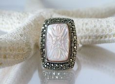QVC Suspicion STERLING Silver 925 Carved Pink Mother of Pearl Elongated Ring 8 #Suspicion #SolitairewithAccents