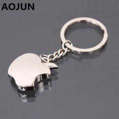 Aojun creatieve apple modellering souvenir rvs metalen sleutelhanger sleutelhanger hanger tas voor mannen vrouw auto sleutelhanger ysk02