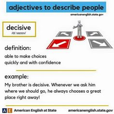 adjectives to describe people: decisive Vocabulary Sentences, Vocabulary Practice, Grammar And Vocabulary, Vocabulary Cards, English Vocabulary, English Adjectives, English Idioms, English Phrases, English Words