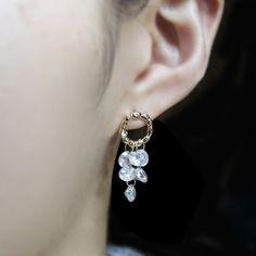 #goldearrings #chandelierearrings #dropEarrings #cubiczirconia #earrings #from #korea #jewelry #sparkly #gold #nickelfree #hypoallergenic Chandelier Earrings, Gold Earrings, Drop Earrings, Jewerly, Korea, Pearls, Stuff To Buy, Collection, Jewlery