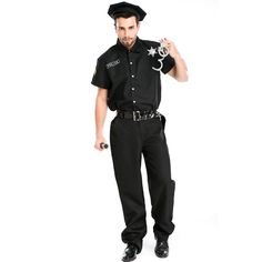 New Design  men sexy Halloween  police costume instructor Role-play Profession Costumes Black Cool Latex Catsuit A155803 #Affiliate