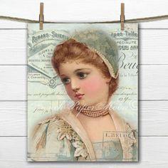 Victorian Girl Digital Download, Romantic French Collage, French Ephemera…