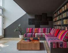 colorful patchwork sofa in a Brooklyn brownstone