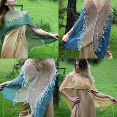 Love the colors on these! Knitted Shawls, Wearable Art, Tie Dye Skirt, Needlework, Cover Up, Butterfly, Stitch, Knitting, My Style