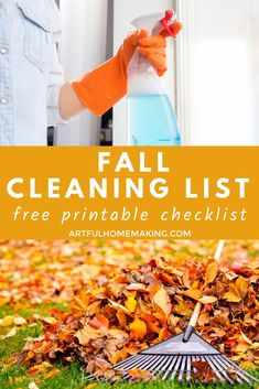This fall cleaning checklist will help you clean your house room by room! Print off the free printable to help you check off all your cleaning tasks! #fallcleaningchecklist #freeprintable #fallcleaningllist #cleaning #cleaningchecklist #homemaking #printablechecklist #fall #homemaker