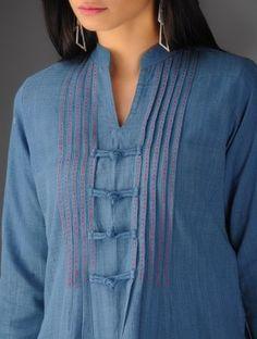 Steel Blue Malkha Front Pleated Kurti By Jaypore - Salwar Pattern, Kurta Patterns, Dress Patterns, Neckline Designs, Dress Neck Designs, Blouse Designs, Plain Kurti Designs, Kurti Sleeves Design, Kurta Neck Design