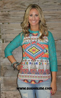 Southwest Syndicate Aztec Baseball Tee with Jade Crochet Sleeves $24.95 Small-3XL www.gugonline.com