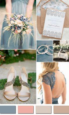 Đám cưới màu xanh sẽ không còn ảm đạm khi được tô điểm với sắc hồng nhẹ cùng những sắc thái màu nude khác nhau.
