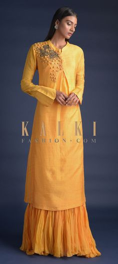 Buy Online from the link below. We ship worldwide (Free Shipping over US$100)  Click Anywhere to Tag Sun-Yellow-Long-Dress-With-Floral-Embroidery-And-Tiered-Under-layer-Online-Kalki-Fashion