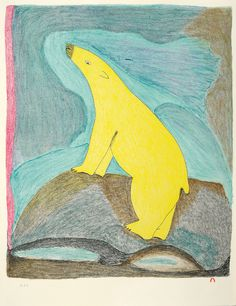 Yellow Bear by Ohotaq Mikkigak. Lithograph print from released in Dorset Fine Arts 2010 collection. Availble through Nanooq Inuit Art gallery. Art Inuit, Artwork Display, Canadian Art, Indigenous Art, Stencil Art, Aboriginal Art, Cool Pets, Outsider Art, Sculpture Art