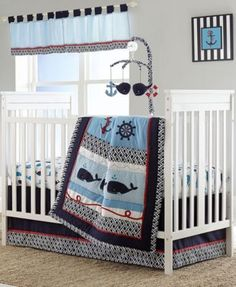 Nautica Whale of a Tale 4 Piece Crib Bedding Set $169.99 The Whale of a Tale 4-piece crib set features a nautical-inspired look with a whale pattern front and center that's sure to bring a soothing presence to your baby's room.
