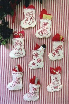 Redwork Stocking Ornaments, embroidery by odessa Felt Christmas Decorations, Felt Christmas Ornaments, Noel Christmas, Handmade Ornaments, Handmade Christmas, Christmas Stockings, Stocking Ornaments, Embroidered Christmas Ornaments, Christmas Projects