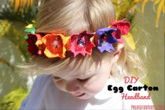 DIY Egg Carton Headbands - This craft has so many fun elements to it! There& cutting, painting, glueing, glittering AND you get to wear your masterpiece when finished! Easter Crafts For Kids, Craft Activities For Kids, Summer Crafts, Preschool Crafts, Craft Ideas, Jewish Crafts, Head Band, Tulle Headband, Egg Carton Crafts