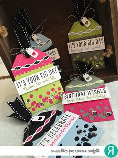 DIY gift tags by Susan Liles. Reverse Confetti stamp set: Celebrations. Confetti Cuts: Topped Off, Top 'o the Tag. Linked Garland and Falling Confetti. Birthday tags.