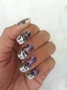 white tip/gold/black - Nail Art Gallery by NAILS Magazine #nails
