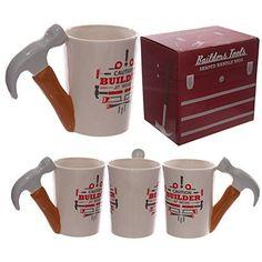 1 x Funky Hammer Shaped Handle Ceramic Mug - Novelty Builder Gift Novelty Mugs, Novelty Items, Mug Design, Mugs For Sale, Cool Mugs, Construction, Ceramic Mugs, Mug Cup, Coffee Mugs