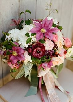 gorgeous plum bouquet with clematis