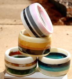 MADE TO ORDER extra tall  stripe chunky resin bangle by cocomias, $63.00