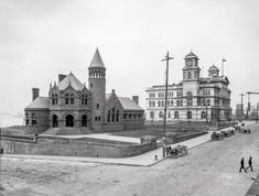 "Municipal Memphis: 1906 ""Cossitt Library and Post Office, Memphis, Tennessee."" This Romanesque castle in red sandstone, at Front and Monroe on the banks of the Mississippi, was the city's first public library when it opened in 1893."