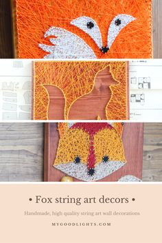 Fox string art wall decors for nursery or kids room. Great for forest theme rooms.