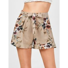 Belted High Waisted Floral Shorts ($13) ❤ liked on Polyvore featuring shorts, floral print shorts, belted shorts, flower print shorts, high rise shorts and high waisted floral shorts
