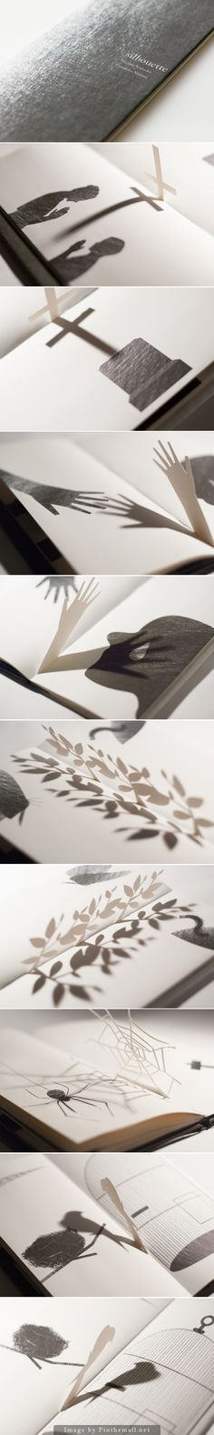 An interactive Japanese book by Megumi Kajiwara and Tathuhiko Nijima that includes pop-up silhouettes in-between pages http://silhouette-about.tumblr.com - created via http://pinthemall.net