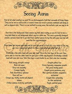 How to See Auras, Book of Shadows Pages, BOS Pages, Real Psychic Powers! in Collectibles, Religion & Spirituality, Wicca & Paganism | eBay