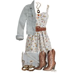 """Dress and Cowboy Boots"" by jackie22 on Polyvore"
