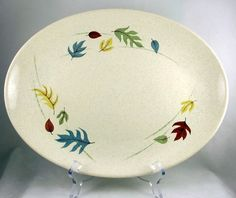 "Vintage Franciscan Autumn 13"" oval serving platter California pottery 1960s"