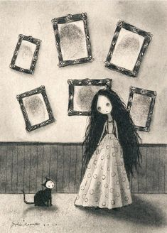 This listing is for one print of Sophia Rapatas original painting, Collector of Prints, which was originally painted using ink and charcoal on tan toned paper. Arte Horror, Horror Art, Creepy Art, Weird Art, Arte Lowbrow, Arte Indie, Dark Artwork, Illustration Art, Illustrations
