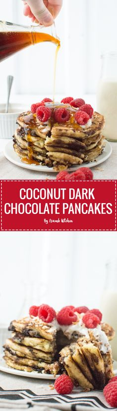 These fluffy Coconut Dark Chocolate Pancakes combine dark chocolate, coconut, raspberries and maple syrup into a delicious weekend brunch. | Crumb Kitchen