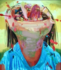 Dana Schutz Head Eater (turquoise shirt), 2004 Oil on canvas, 25 x 22 inches #art #painting
