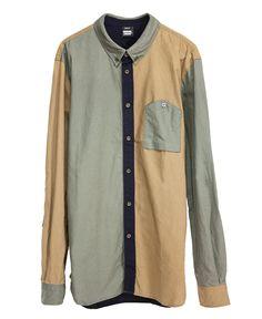DR.DENIM - Walter (ウォルター) パネル切り替えシャツ Block Coloured (ブロック・カラー) 821
