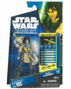 "Star Wars 2010 Clone Wars Animated Action Figure CW No. 36 Quinlan Vos by Hasbro Toys. $10.95. For Ages 4 & Up. Star Wars: The Clone Wars 3 3/4"" animated action figure from Hasbro. Figure comes with blasters, Galactic Battle Game card, die and base. Quinlan Vos is figure # CW36 in the 2010 Clone Wars action figure line. Quinlan Vos was a Kiffar Jedi Master in the Jedi Order and a General in the Grand Army of the Republic during the Clone Wars. He hailed from the planet Kiffu in..."