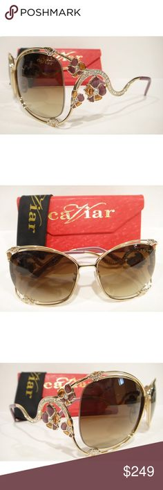 9f2666cc9c9 CAVIAR 6850 FLOWER SUNGLASSES GOLD (C43) CRYSTAL Authentic Brand New CAVIAR  6850 SUNGLASSES Complete