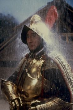 Jim Dale in his armour for Carry On Columbus