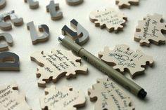 Puzzle pieces guest book for a wedding...what a fun idea