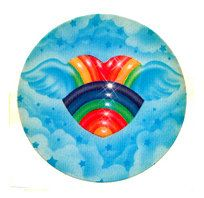 Rare Vintage Lisa Frank Winged Rainbow Heart Sticker 80s Clouds Flying Sky via Etsy
