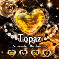 """Topaz - November Birthstone""  A lovely heart-shaped topaz features in this theme! Download Now:http://bit.ly/2fbtd7c #cute #wallpaper #design #icon #beautiful #plushome #homescreen #widget #deco"