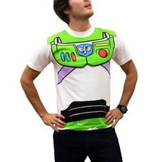 """To infinity and beyond! Transfrom into everyone's favorite intergalatic space ranger, with your very own Buzz Lightyear costume t-shirt.This Toy Story adult t-shirt features a recreation of the """"Toy Story"""" hero's high-tech spacesuit. It's perfect for Halloween, costume parties or geeking it up, Toy Story style.This white, standard fit shirt is made of 100% cotton. Be sure to check out our Size Chart to get an idea of the average size and dimensions of this B..."""