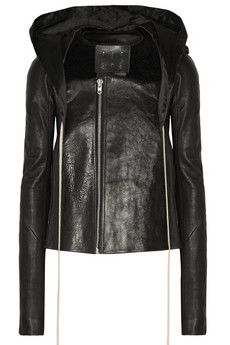 Rick Owens Shearling-trimmed leather jacket | THE OUTNET