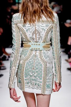 fitted military-inspired, vintage-style, blue, white and gold suit jacket style dress on the runway #fashion