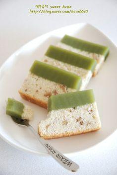 빵 반, 양갱 반...녹차 양갱 호두 케이크