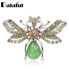 f39f2c58566 Dalaful Nicely Cute Animal Bee Brooches for Women Man Multicolor Rhinestone  Lapel Pin Collar Tips Insects Hijab Pins